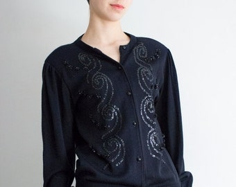 Vintage Black Cardigan Sweater with Sequin Spirals and Shoulder Pads