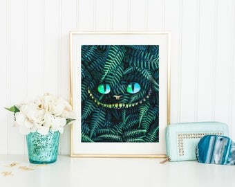 Cheshire Cat Print - Cheshire Cat Poster - Cheshire Cat Wall Art - Alice in Wonderland - Prints - Wall Decor - Alice Prints