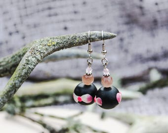 Black pink earrings Unique earrings Summer earrings Flower earrings Author polymer earrings Gift for daughter Polymer jewelry Bow earrings