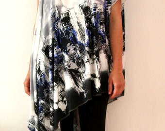 Open shoulder summer tunic with print design fabric and asimmetric cut