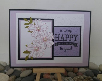 Lavender and Black Floral Birthday Card