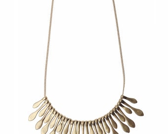 Matt Gold Metal Fringe Necklace