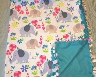 Baby Elephants Fleece Tied Blanket