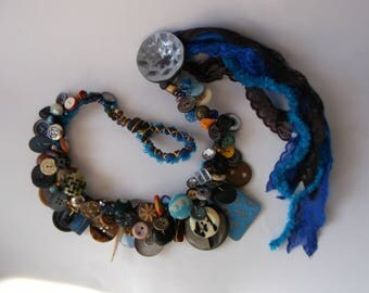 Extraordinary Textile Statement Collar, Retro and Vintage  Button Necklace, Handmade charm cluster Choker, Ar-Deco chaplet,One of a kind