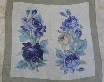 Vintage Perry Ellis Silk Scarf with Blue Roses