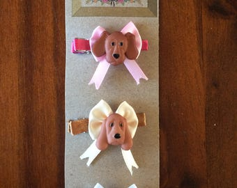 Doggie and Bow Hair Clips (Set of three)