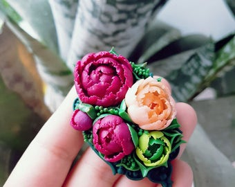 Handmade Brooch with Peony. Bright handmade peony. Brooch made of polymer clay. Fashion Flower. Floral Brooch. Flower brooch