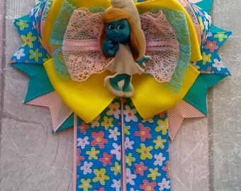Smurfette Big bow Bows for hair Smurfs birthday Smurfs hair bow Girl smurf The smurfs Smurfette hair bow Yellow blue Baby shower Gift