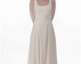 Fräulein dress - velvet with chiffon neck panel and 3/4 puff sleeve. Ankle length