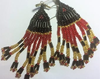 Red, Black & Gold earrings with a straight top motif