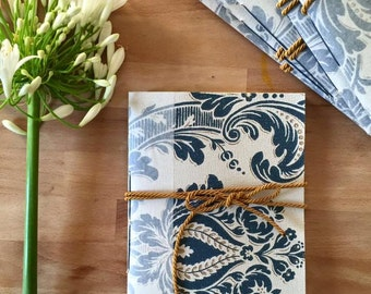 Vintage wallpaper notebooks A5, bound by hand. Inside cream