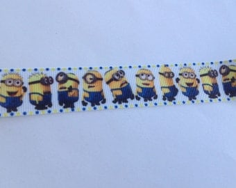 """7/8""""  Minions  inspired Grosgrain Ribbon  -  By The Yard"""