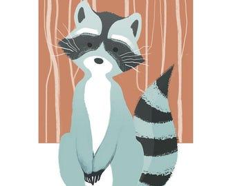 Nursery wall art, raccoon, boy room, girl room, woodland animals
