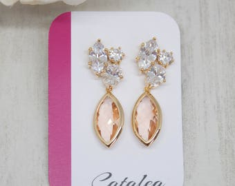 Yellow Gold Earrings Crystal peach apricot bride wedding Bridal jewelry