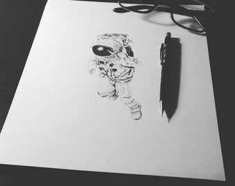 Astronaut pencil illustration in black and white