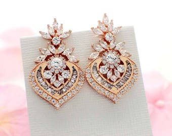 Rose gold wedding earrings, Art Deco, bridal earrings, cubic zirconia jewelry, rose gold bridal jewelry, Art deco  jewelry vintage