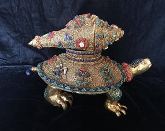 """Masterpiece Nepal Buddhist Zambala-topped """"Good Luck"""" Turtle & Conch Shell crafted with Gem Inlay Lapis Coral Turquoise"""