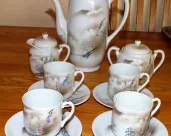 Beautiful Vintage Japanese Tea Set Geisha Design