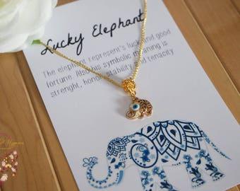 Lucky elephant necklace   gold, necklace, boho necklace, bohemian, evil eye necklace, minimalist jewelry, jewelry card, necklace card