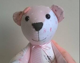 Memory bear, keepsake bear. Made from baby's first clothes. Baby clothes bear. Keepsake teddy, keepsake memory bear, memory bears.