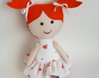 Girls gift, red head rag doll. Girl fabric rag doll. Soft doll, ballerina doll, interior doll, textile girl doll, girl stuffed doll.