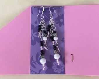Pink sparkling long dangle earrings