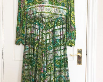 Vintage Retro 60's Bergdorf Indian Silk and Lurex Paisley Dress