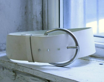 1970s Super Wide White Leather Belt