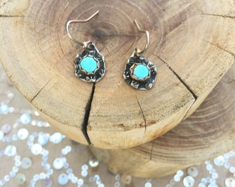 Vintage Handmade Silver Turquoise Earrings