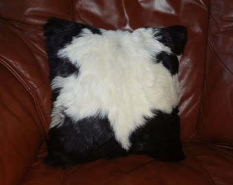 Natural cowskin warm fur pillow , real cow leather