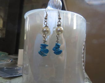 Wire worked wire wrapping Off white Crystal Pearl + Turquoise Mini Nugget silver wire dangle earrings
