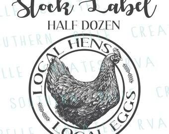 Stock Egg Carton Label - Half Dozen