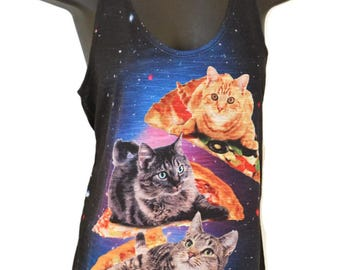 Pizza Cats printed Graphic Singlet Tank top