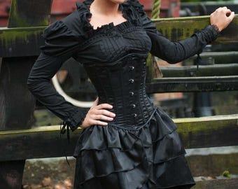 Black satin Victorian Steampunk Burlesque Goth Lolita bustle underbust laced steel boned corset dress 20-40 inches
