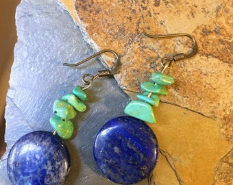 Lapis and Green Stone Earrings