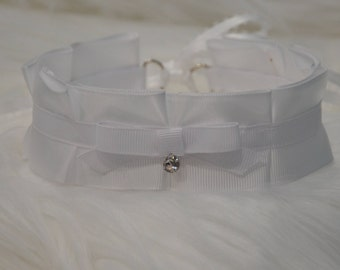 BDSM/DDLG/Kitten Play Collar All White Collar with Swarovski Crystal