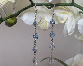Crystal earrings Long earrings dangle earrings drop earrings clear crystal earrings