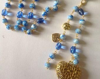 Long blue necklace flapper necklace long necklace dangle necklace beaded necklace handmade necklace fashion necklace
