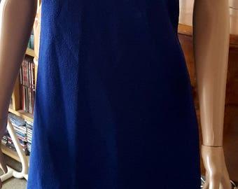 SOLD Vintage 1960s Original Crimplene Shift Dress in Royal Blue Freeman's London
