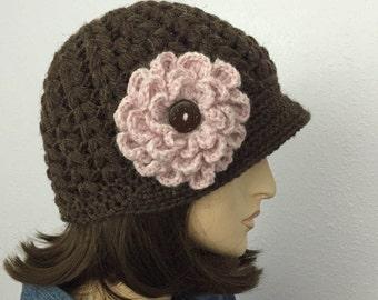 Women Croshet Hat Winter Hat Women Accessories Fall Fashion Brimmed Beanie Hat With Flower