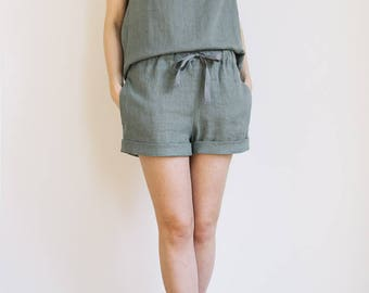 Sage green shorts / Linen pajama shorts / Linen shorts / Linen loungewear