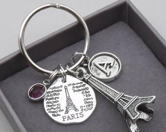Paris Eiffel tower vintage initial keyring | paris keychain | eiffel tower keyring | paris accessory | paris gift | letter | birthstone