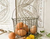Vintage Wire Egg Basket - Farmhouse - Country Chic - Charming Small Size