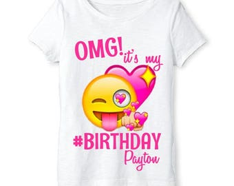 Emoji Shirt - Girls Emoji Birthday Shirt Personalized with Name