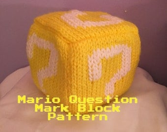 Mario Question Mark Block PDF knitting patterm
