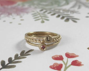 14k Gold Three 3 Ring Stacking Set *  Birthstone, Initial Ring & Dotted Band * Unique-To-You Gemstone Letter Personalized Graduation Gift