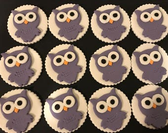 Purple Owls Fondant Cupcake Topper