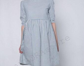 cotton dress with drop-waist