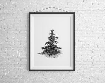 Lonely Pine Tree, Digital Art, Printable Art - INSTANT DOWNLOAD