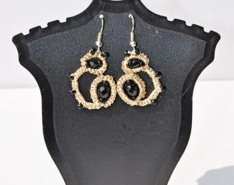 LACE EARRINGS, earrings, gold earrings, lace jewelry, tatting jewelry, lace, tatting, tatting earrings, gold tatting earrings, lace earrings